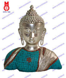 Lord Buddha Bust Silver Finish W/ Stones Statue
