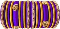 Blue And Golgen Silk Thread Bangles Set