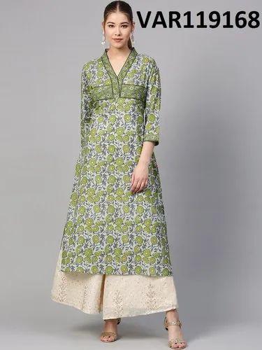 Green Achkan Multi Colour Cotton Printed Kurtis, Size: S