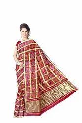 Red Color Checks Design Gaji Silk Bandhani Saree