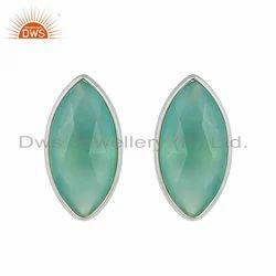 925 Sterling Fine Silver Aqua Chalcedony Gemstone Stud Earring Jewelry