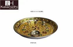 Sathiya Steel Gold Meena Swastik Puja Thali (PT2053KHD)