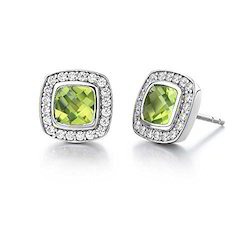 Simple Peridot Silver Earrings