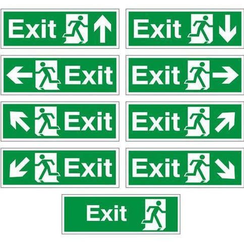 red or green emergency exit only door sign dimension 300 x 180 mm