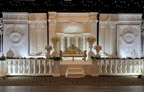 Majestic Modern White Wedding Stage Setup