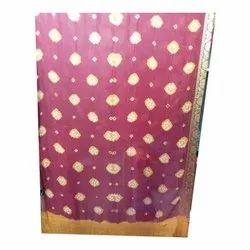 Multicolor Designer Printed Cotton Bandhani Saree, Packaging Type: Packet