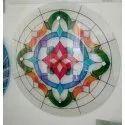 Glossy Round Printed Designer Glass