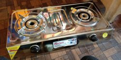 Black Stainless Steel 2 burner gas stove S S Pen support, For Kitchen