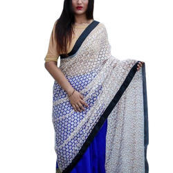 The Indian Divas Blue & White Full Embroidered Net Saree, 6.3 m (with blouse piece)