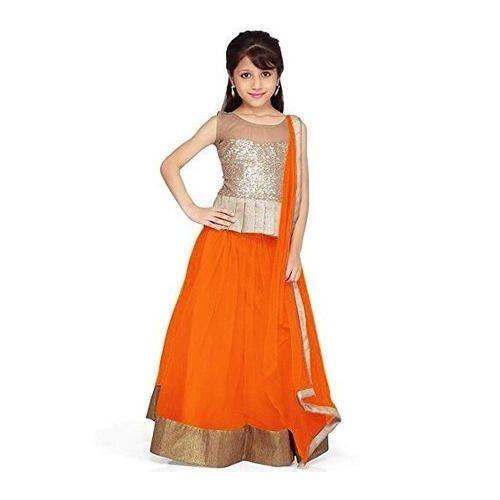 00677b32f Light Beige And Orange Net Kids Lehenga Choli, Rs 598 /piece | ID ...