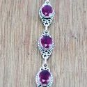 925 Sterling Silver Indian Jewelry Beautiful Ruby Gemstone Bracelet Wb-5133
