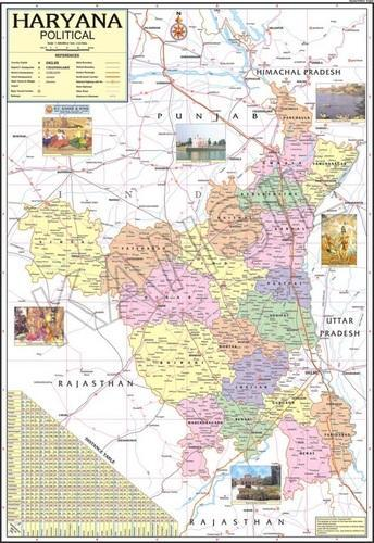 Multicolor Laminated Paper Haryana For Political State Map Size