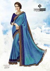 Indian Women Teal Blue Two Tone Silk Saree