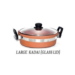 Brown Hand Building Terracotta Large Kadai With Glass Lid, For Kitchen Cookware