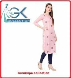 Ladies Rayon Off White Embroidery Kurti