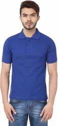 Polo Neck Blue Plain T Shirt