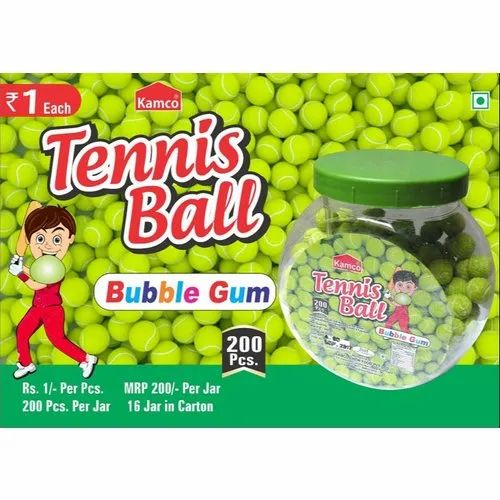 Tennis Ball Bubble Gum, Packaging Type: Plastic Jar