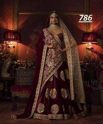 Rose Velvet Designer Bridal Lehenga Choli