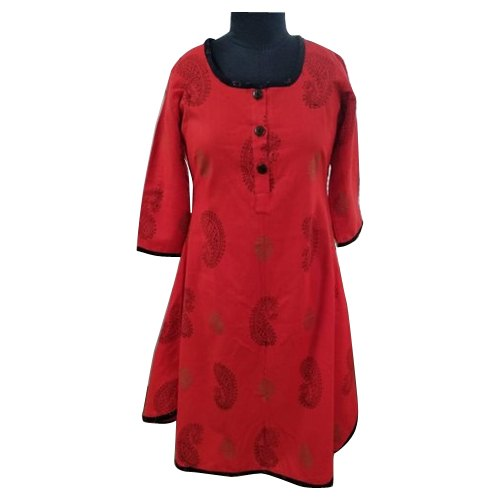 Be You Chiffon And Georgette Ladies Red Casual Wear Kurti
