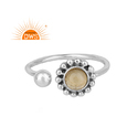 Flower Design Oxidized Silver Natural Citrine Gemstone Ring Jewelry