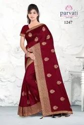 Trendy Party Wear Embroidery Saree With Blouse By Parvati Fabric