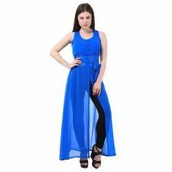 Plain Stitch Women Long Blue Maxi Dress
