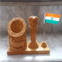 Table Top Wooden Pen Holder With Ashok Stambh