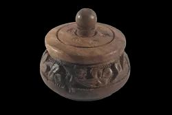 Natural Round Wooden Kumkum Box, 29gms, Size: Size:- 2 Inches