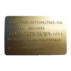 Golden Rectangular Embossed PVC Cards, Size: 86mm X 54 Mm
