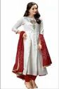 Adorvii Womens Off-White Up-Down Anarkali Kurti with Embroidery At Front And Maroon Silk Dupatta