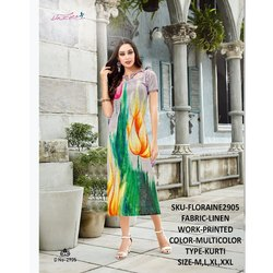 Rachna Linen Digital Printed Work Floraine Catalog Kurti For Women 5