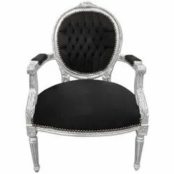 96x54x64 Cm Polished Black Velvet Armchair