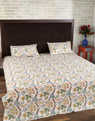 Yellow And Green Hand Printed Leaves Handmade Bed Sheet
