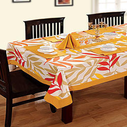Swayam Libra Printed Cotton Six Seater Table Sheet - Yellow