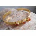 Handmade Gold Plated Brass Gemstone Bangles