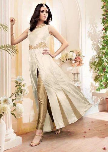 caeb24f76a As Shown Zari Stylish Party Wear Banarasi Silk Anarkali Suit, Rs ...