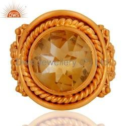 Citrine Ring 925 Silver Gold Plated