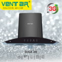 Ss & Tempered Glass Less Than 65 Dba Ventair Kitchen Chimney Sola 3g, 1200 M3/hr