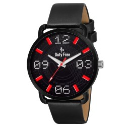 Black Leather Men Watch