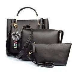 Black Ladies PU Leather Handbag, Gender: Women