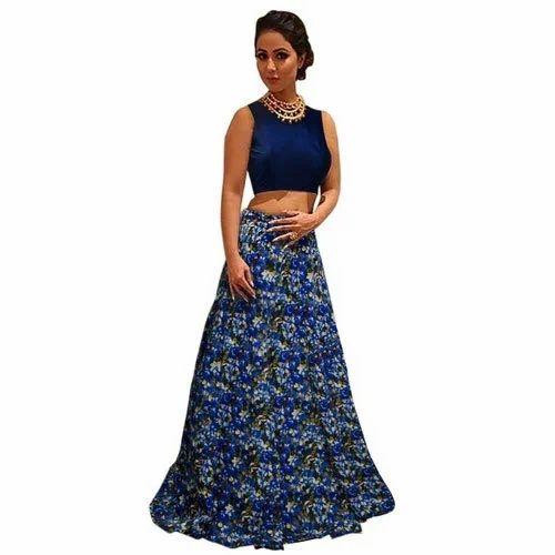 L24 Printed lehenga choli in heavy taffeta silk party wedding Bollywood India