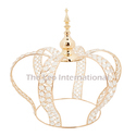Decorative Crystal Bead Crown Center Piece Golden Finish