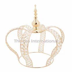 Decorative Crystal Bead Crown Center Piece Golden Finish