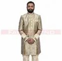 Beige And Olive Green Indo Western Suit