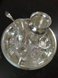 Silver coated SS Pooja Thali