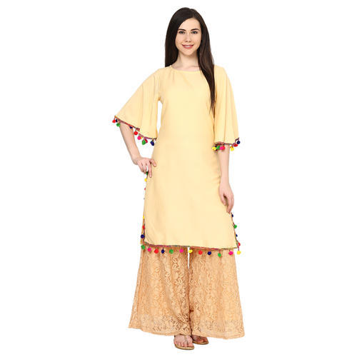 29d6a9e2b2 Pom Pom Lace Kurta With Bell Sleeves at Rs 275 /piece   Jaipur   ID ...