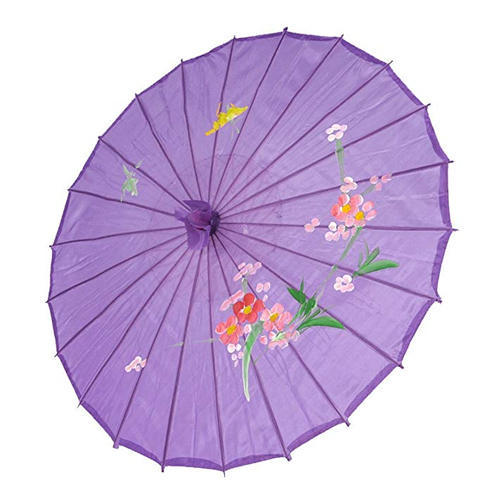 Printed Purple Chinese Umbrella, Size: 21 inch