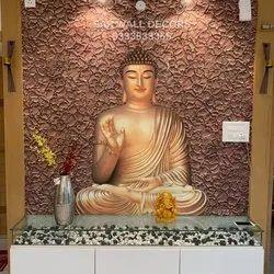 Matte Fiberglass Buddha Wall Mural, For Decoration