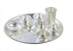 Home Arts Round Silver Thaal With Bowl, Size: Standard