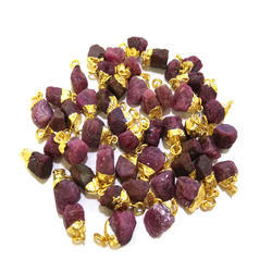 Ruby Gold Plated Rough Stone Charm Pendant